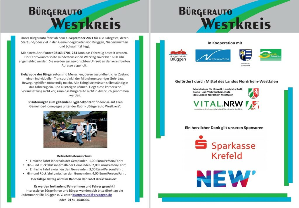 "Das ""Bürgerauto Westkreis"" fährt ab dem 01.09.2021!"
